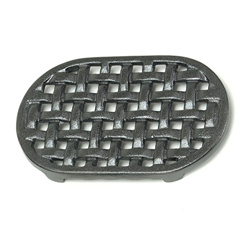 Minuteman International Cast Iron Oval Lattice Trivet (Stove Enameled Wood)