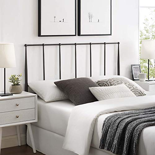 Modway Kiana Stainless Steel Metal Queen Headboard in Brown