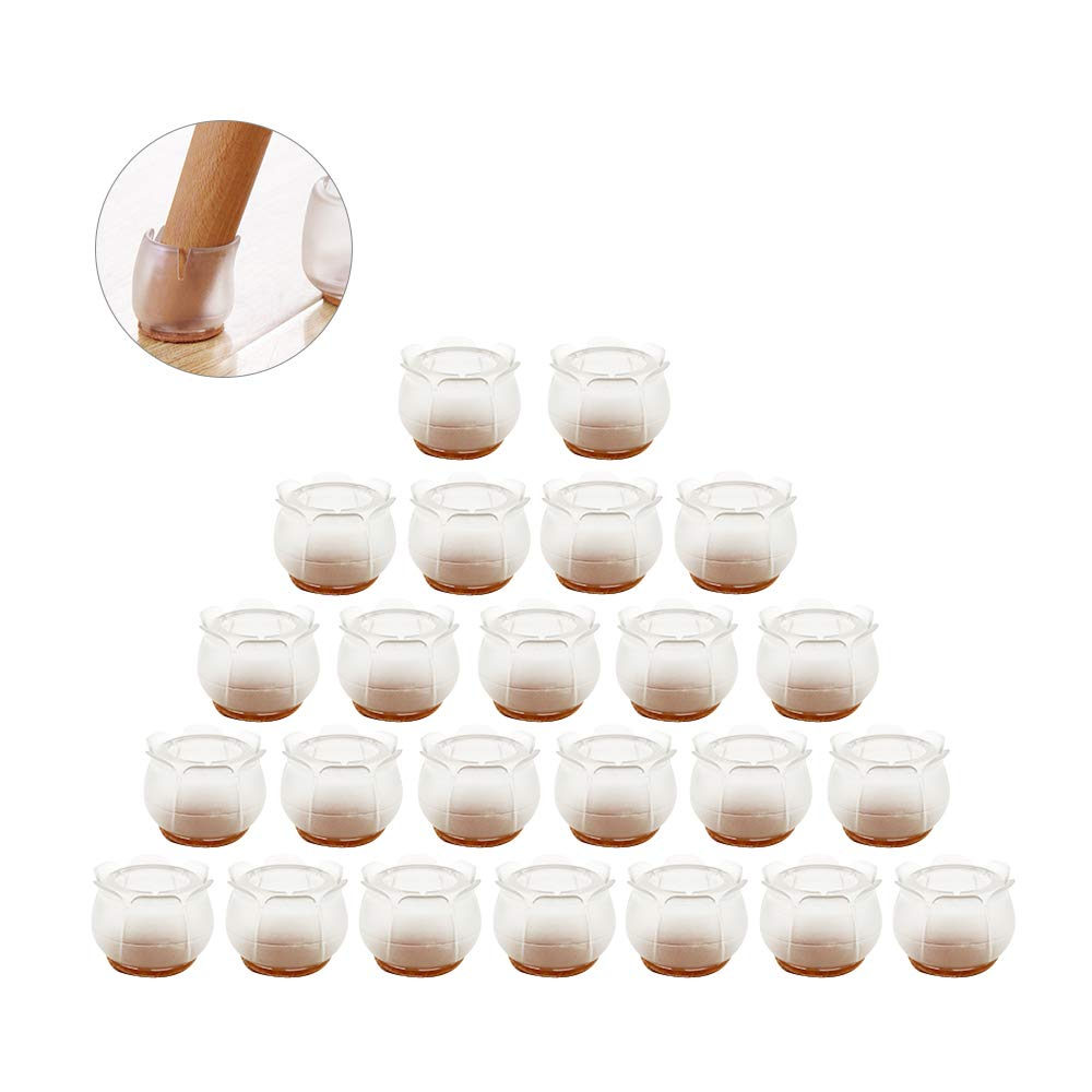 MIFXIN Antiskid 24pcs Chair Table Leg Caps Cover Floor Feet Protectors Furniture Leg Caps Silent Silicone Soft Chair Feet Protection (Flower)
