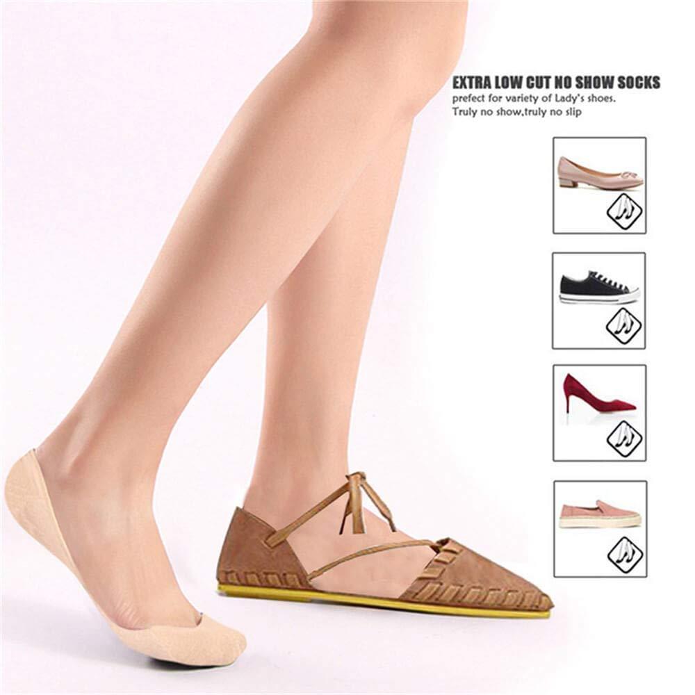 Puimentiua 1/6/10 No Show Socks/Invisible Socks Women/Flats Socks Ultra Low/Non Slip Invisible Socks Flat Boat Socks/Low Cut Casual Cotton Liner Socks/for Women.