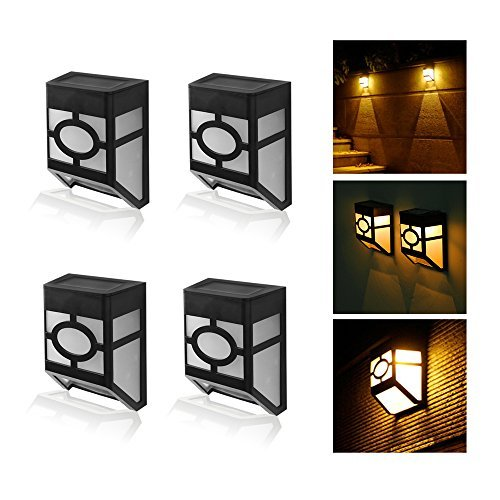 - MIYOLE Pack of 4 Warm White LED Solar Lights Outdoor Waterproof Garden Lamp Accent Light Yard Gutter Wall Lantern