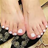 BloomingBoom 24 Pcs 12 Sizes Full Cover False Fake Nail Toes Toenail Artificial Design Nail Art Tips Woman Girl Elegant Gift Shell Color White