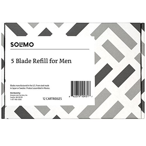 Solimo 5-Blade Razor Refills for Men with Precision Beard Trimmer, 12 Refills (Fits Solimo Razor Handles only)