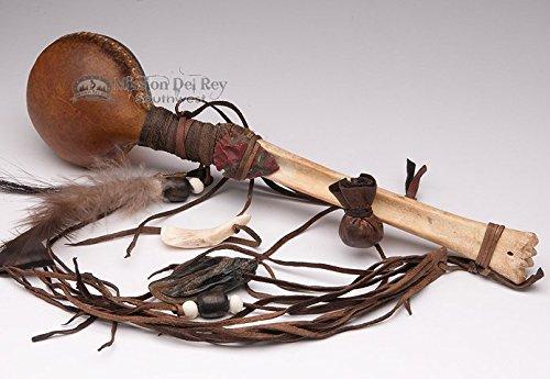 Native American Navajo Spirit Deer Rawhide Rattle 14'' by Mission Del Rey