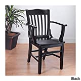 Beechwood Mountain BSD-2A-B Solid Beech Wood Arm Chair in Black for Kitchen & Dining, NA Review