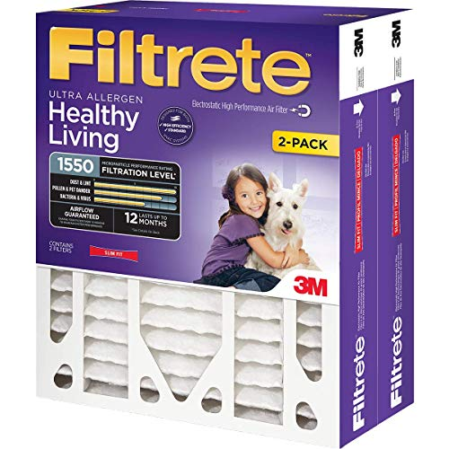 Filtrete 16x25x4(SlimFit), AC Furnace Air Filter, MPR 1550 DP, Healthy Living Ultra Allergen Deep Pleat, 2-Pack