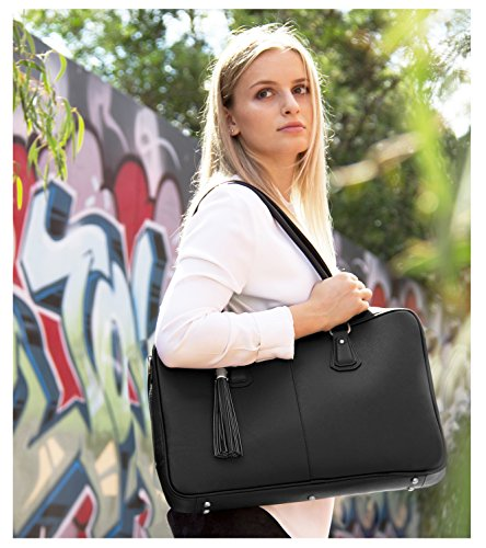 BfB Laptop Bag for Women – Handmade Messenger Computer Bag - 2 Padded Sleeves - Ideal Travel Tote - Black by My Best Friend is a Bag (Image #2)