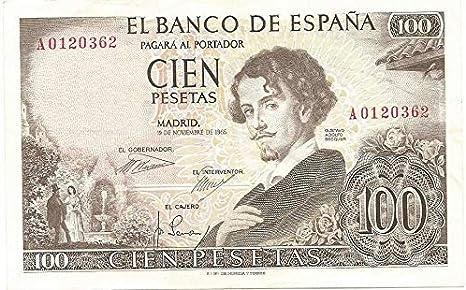 MATIDIA España Billete Original 100 PESETAS 1965 Gustavo Adolfo BECQUER: Amazon.es: Juguetes y juegos