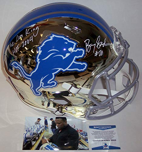 (Barry Sanders Autographed Hand Signed Riddell Detroit Lions Chrome Speed Full Size Authentic Pro Football Helmet - with Hall of Fame 2004 inscription - BAS Beckett Authentication)