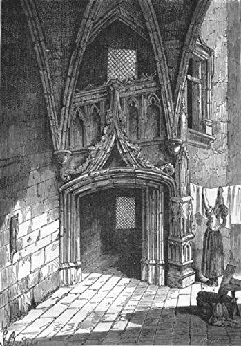 RHÔNE. Lyon. Porte gothique, rue Saint-Jean - 1880 - old print - antique print - vintage print - Rhône art prints