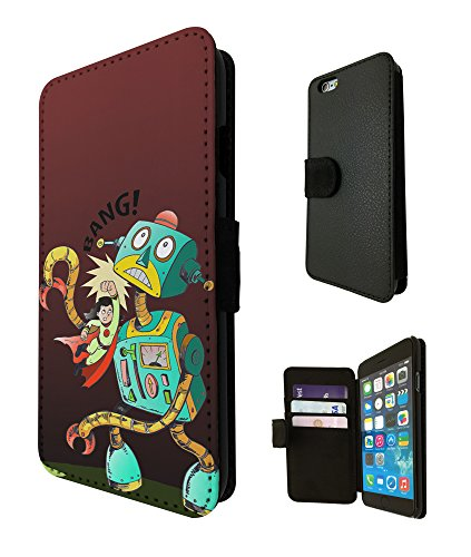 2094 - Cool Funny Super Hero Women Cartoon Robot BANG Design iphone 5C Fashion Trend TPU Leather Flip Case Full Case Flip Credit Card TPU Leather Purse Pouch Defender Stand Cover