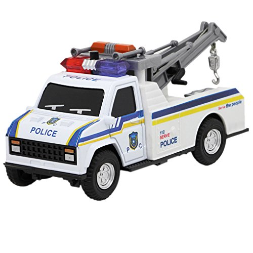 1:28 Emergency Engineering Wrecker Vehicles Toy Pick-up Tow Truck Police Trailer Car Boy Birthday Present Educational Toy Christmas - Police Tow Truck