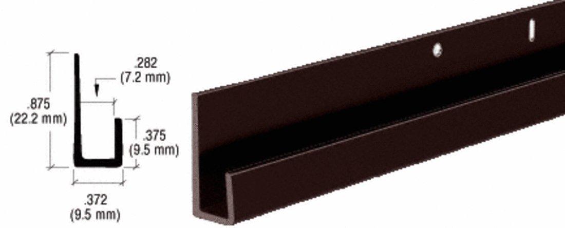 CRL Bronze Electro-Static Paint 1/4'' Standard Aluminum ''J'' Channel - 12 ft Long