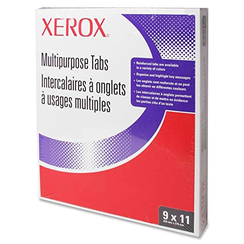 Xerox 3R4416 Multipurpose Tabs, 3-Hole, 9x11, 5-Tab Set, White 50 Sets/BX (Single Reverse Copier Collated Xerox)