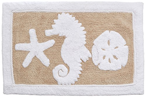 "Avanti Linens Sea and Sand Bath Rug, 20"" x 30"", Linen/White - PERFECT SIZE - The Avanti Sea and Sand Tufted Cotton Bath Rug measures a convenient 20"" by 30"". This rug and can be placed alongside the shower or near the sink to keep the bathroom floor dry, keep feet warm, and to prevent slipping. Its medium size and rectangular shape make it suitable for standing on at the kitchen counter or sink, or leaving shoes on in the entryway. EASY TO CLEAN - Thanks to its tufted cotton and latex backing, Avanti's bath mats are easy to clean! Simply machine wash on cold using the gentle cycle. Either tumble dry on low, or air dry to maintain the integrity of the rug's construction. Use non-chlorine bleach if needed. THE COMPLETE PACKAGE - Bathroom decor isn't complete without coordinating pieces. Our bathroom rug is part of a complete bathroom set that includes a towel set, soap dish, shower curtain, and other bath accessories to turn your home into a haven. - bathroom-linens, bathroom, bath-mats - 51yfk WJnoL -"
