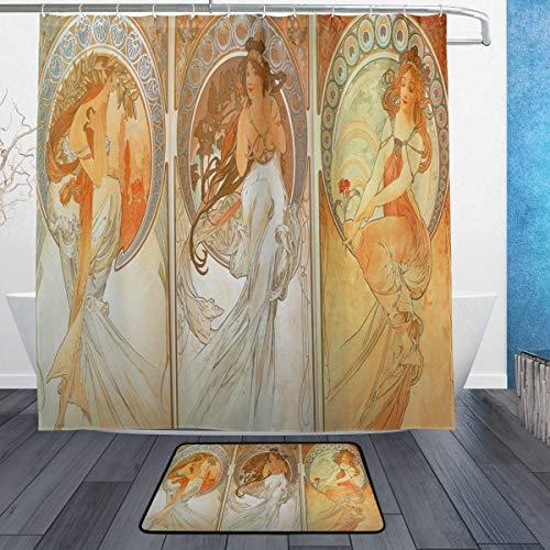 DJROW Comics Ink Art Nouveau Shower Curtain and Bath Mat Set,Includes 72