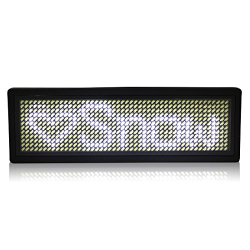 uxcell LED Badge Digital Scrolling Message Name Sign Display Portable Rechargeable US plug White