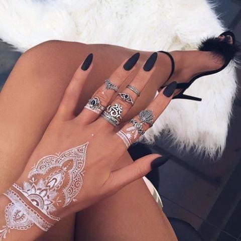 Amazon Com 6 Sheets White Henna Temporary Tattoo Stickers Henna