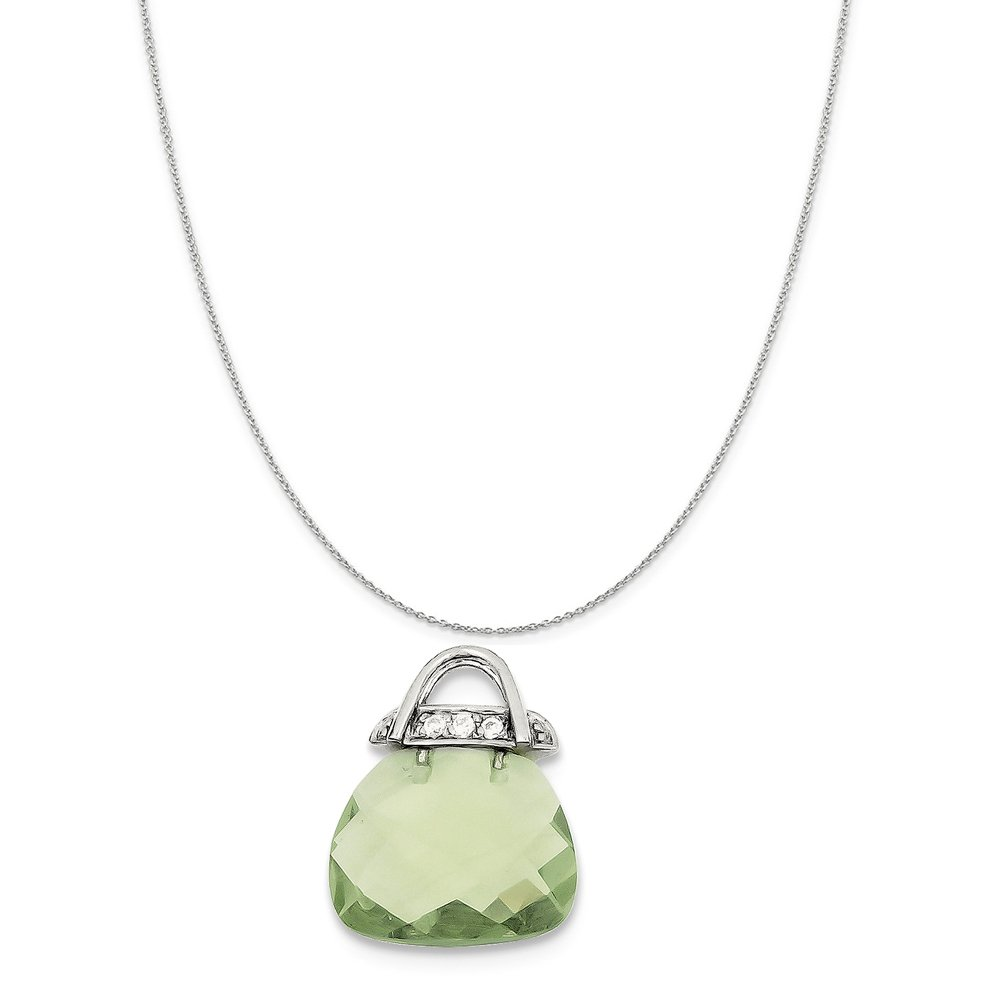 Snake or Ball Chain Necklace Sterling Silver Green Synthetic CZ Purse Pendant on a Sterling Silver Cable