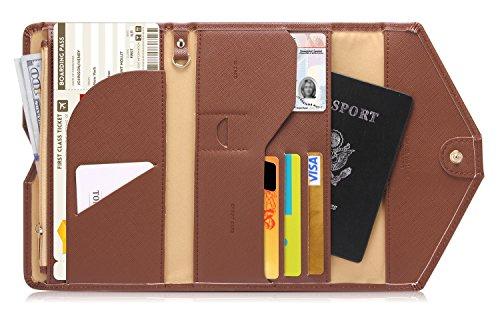 Zoppen Mulit-purpose Rfid Blocking Travel Passport Wallet (Ver.4) Trifold Document Organizer Holder, Brown