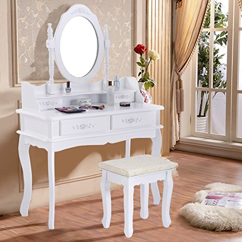 White Vanity Jewelry Makeup Dressing Table Set W/Stool 4 Drawer Mirror Wood Desk from Apontus