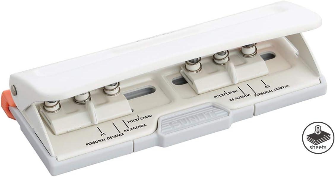 Bira Craft Adjustable 6 Hole Punch, Off White, 8 Sheet Capacity, Mini/Pocket / A4 / A5 / A6 / Agenda/Personal/Deskfax, Performance Guaranteed