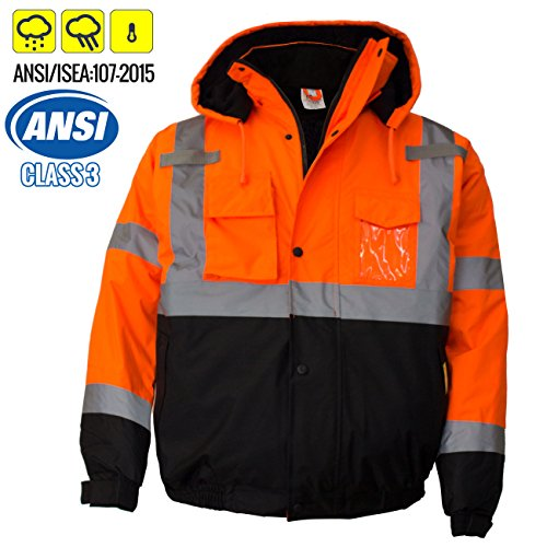 New York Hi-Viz Workwear WJ9011-XL Men's ANSI Class 3 High Visibility Bomber Safety Jacket, Waterproof (Extra Large, (Hi Viz Orange Safety Vest)