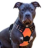 Eagloo Dog Harness No Pull, Walking Pet Harness with 2 Metal Rings and Handle Adjustable Reflective Breathable Oxford Soft Vest Easy Control Front Clip Harness Outdoor for Medium Dogs Orange