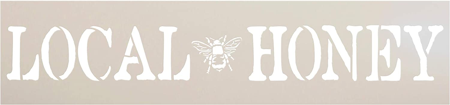 Local Honey Stencil with Bee by StudioR12 | DIY Farmhouse Honeybee Home & Kitchen Decor | Rustic Spring Word Art | Craft & Paint Wood Signs | Reusable Mylar Template | Select Size (30 x 7 inch)