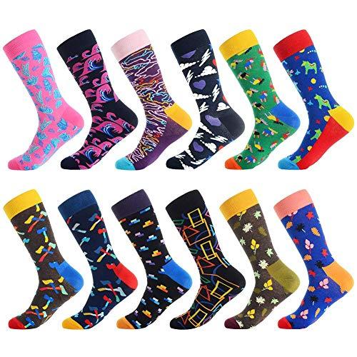 Men's Fun Dress Socks,Colorful Pattern Crazy Novelty Funny Art Dress Socks Pack Funky Crew Socks by Bonangel,Gift for Men (Purple sea)