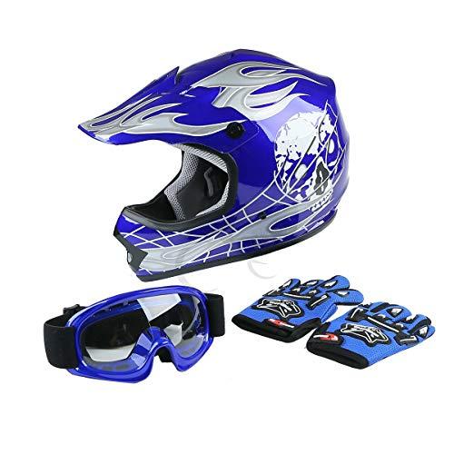 - TCT-MT ATV Helmet w/Goggles+Gloves Youth Blue Skull Dirt Bike Motocross Quards ATV Helmet w/Goggles+Gloves Medium