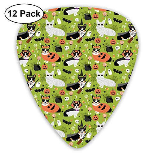 TriColored Corgi Halloween Costumes Cute Dog Classic Celluloid Picks, 12-Pack, For Electric Guitar, Acoustic Guitar, Mandolin, And Bass ()