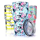 Pandaria 30 oz Stainless Steel Vacuum Insulated Tumbler with Lid - Double Wall Travel Mug Water Coffee Cup for Ice Drink & Hot Beverage, Flamingo-Blues