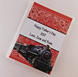 Fathers Day Gift #742 PRINTED personalized Photo Album Vinyl 4x6 or 5x7 Pictures Train Steam Engine Red Bandana Grandpa Daddy Dad Present