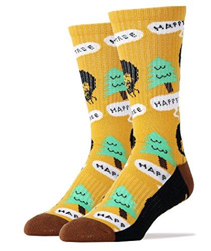 Oooh Yeah Men's Luxury Combed Cotton Crew Socks - Nice (Bob Ross Wig)
