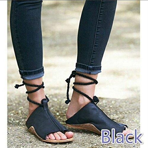 Ouvert Plat Ankle Femmes Flat À Décontractées Sandales Gladiator Plus À Bout Sandales Hibote Taille Strap La Chaussures Noir Pompes Chaussures Talon Bas f7xIITdqw