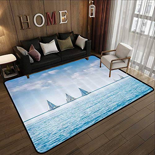 Low-Profile Mats,Ocean,Sail Boats Sea Regatta Race Sports Panoramic View Seascape Summer Sky Photo,Light Blue and White 71