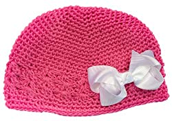 A Girl Company Bubble Gum Pink Crochet Beanie Hat with White Hair Bow