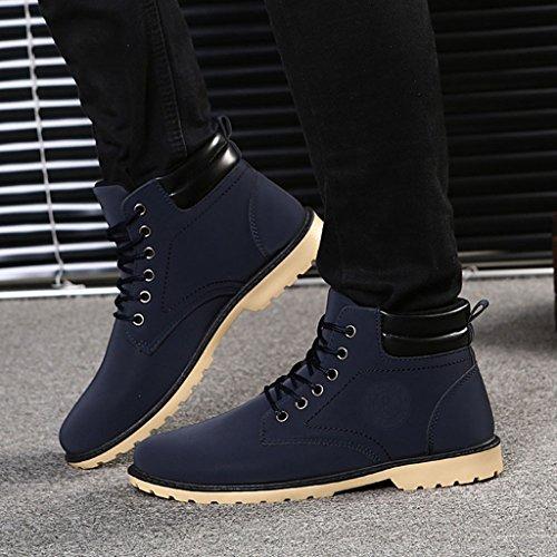hommes bottes de cheville fourrure doublé automne hiver Martin bottes chaussures bleu 5sDws23Jf