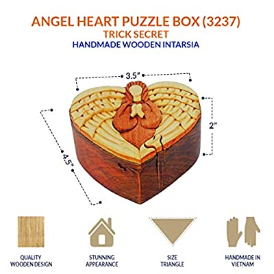 South Asia Trading Handmade Wooden Intarsia Trick Secret Angel Heart Puzzle Box (3237)