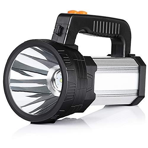 (BUYSIGHT Spot lights hand held,Powerful spotlight large flashlight 6000 lumens handheld spotlight Lightweight and Super bright flashlight Handy Outdoor spotlight flashlight Camping Flood searchlight)