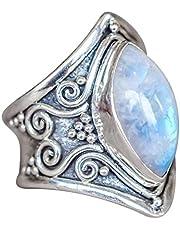 DAYLIN 1PC Bohemia Anillos Joyería Piedra preciosa Plata Anillo Para Hombre y Mujer (Plata, 18.1)
