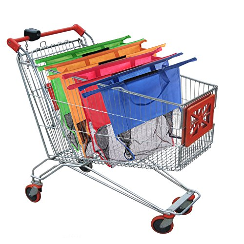4 Stück Einkaufswagen-Taschen,Einkaufstasche für Einkaufswagen Trolley Bags faltbar wiederverwendbar Neu