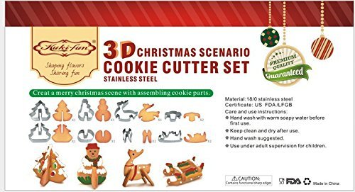 ULee 3D Christmas Cookie Cutters Set - 8 Piece Stainless Steel Cookie Cutters Including Christmas tree, Snowman, Deer & Sled Shapes