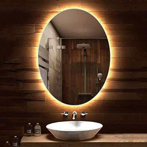 70x90cm Oval Backlit Bathroom Mirror Easy to Install Illuminated LED Hanging Vanity -