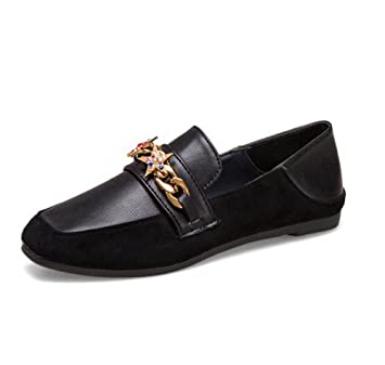 KUKI Zapatos de Carrefour, zapatos planos de mujer zapatos de gamuza diamante informal , 2