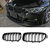 SNA ABS F30 Grill, Front Kidney Grille for 2012-2018 BMW 3 Series F30 F31 (Double Slats Gloss Black Grill, 2-pc Set)