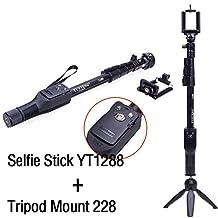 Yunteng (Black) Extendable Camera Shooting Handheld Monopod Tripod Mount Holder for Iphone 6plus 6 5s 5c 5 4s 4 Ipod Etc. (Model Yt-1288) (YT1288+228)