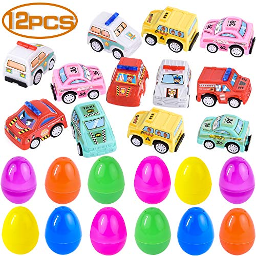 Pull Basket - FILWO 12 PCS Easter Eggs Hunt Toddlers Toy Vehicles, Boys Easter Basket Stuffers Plastic Eggs Filled Pull Back Car Toys, Party Favors Surprise Eggs Prefilled Mini Cars for Kids