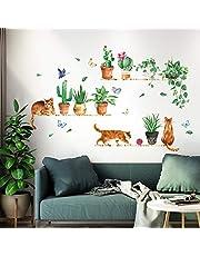 decalmile Muurstickers Aquarel Groen Cactus Muurtattoo Kat met Potplanten Wanddecoratie Woonkamer Slaapkamer TV Achtergrond